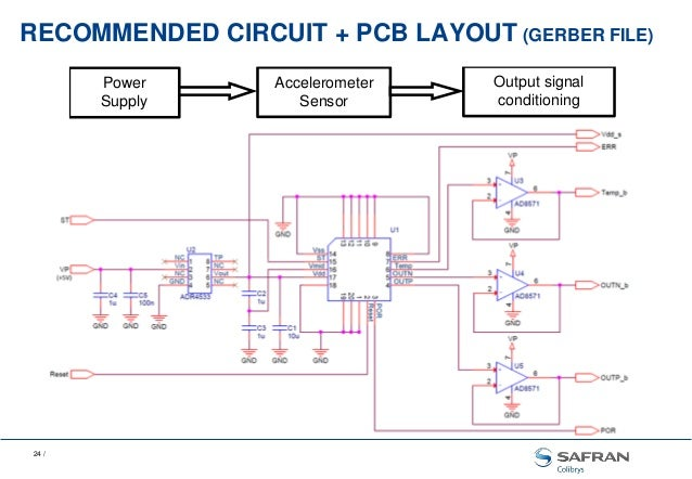 safran colibrys seismic and vibration mems sensors24 recommended circuit pcb layout (gerber file) output signal conditioning power supply accelerometer sensor