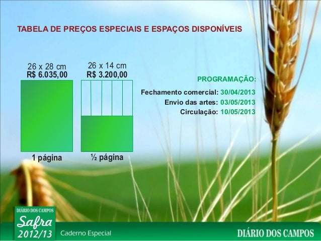 TABELA DE PREÇOS ESPECIAIS E ESPAÇOS DISPONÍVEIS  26 x 28 cm    26 x 14 cm  R$ 6.035,00   R$ 3.200,00                  PRO...