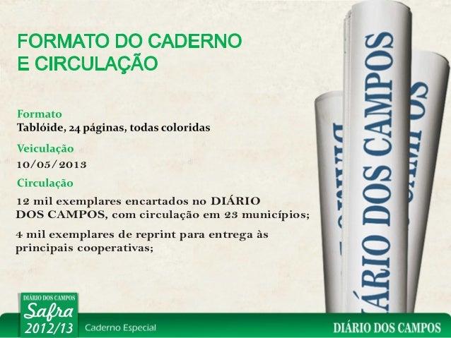 10/05/201312 mil exemplares encartados no DIÁRIODOS CAMPOS, com circulação em 23 municípios;4 mil exemplares de reprint pa...