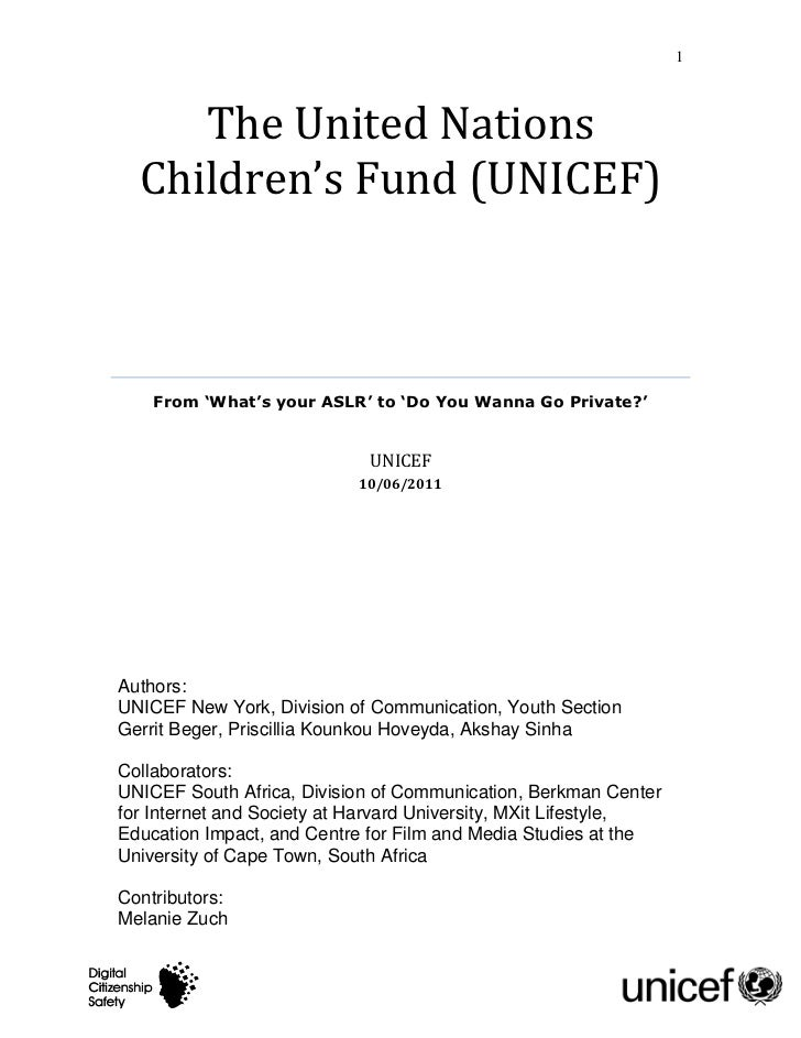 1     The United Nations  Children's Fund (UNICEF)    From 'What's your ASLR' to 'Do You Wanna Go Private?'               ...