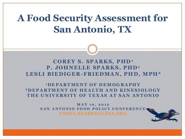 A Food Security Assessment for       San Antonio, TX         COREY S. SPARKS, PHD1       P. JOHNELLE SPARKS, PHD1 LESLI BI...