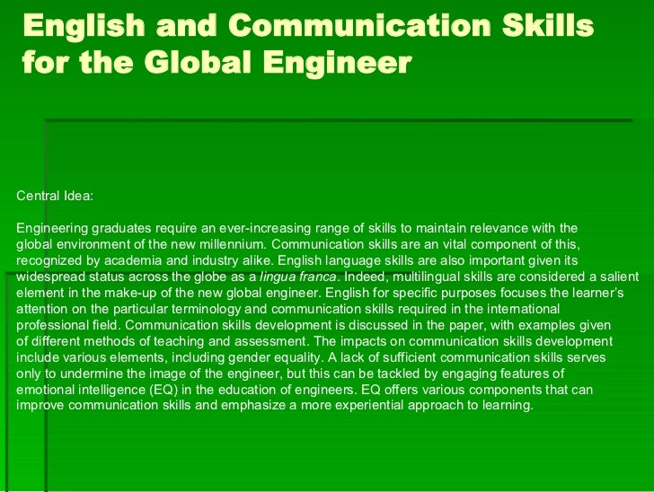 English and Communication Skills for the Global Engineer    Central Idea:  Engineering graduates require an ever-increasin...