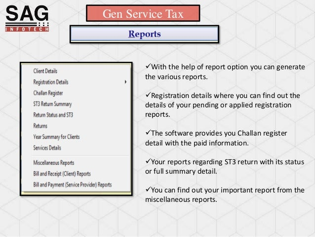 SAG Infotech Service Tax Software in India