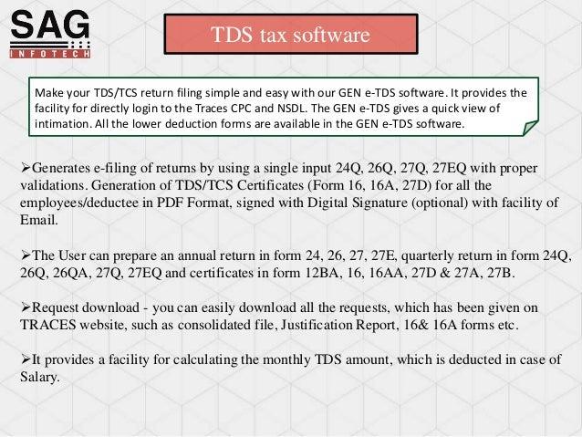 Tds Tax Software By Sag Infotech Pvt Ltd