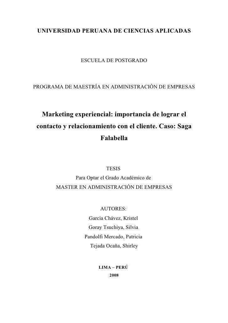UNIVERSIDAD PERUANA DE CIENCIAS APLICADAS                ESCUELA DE POSTGRADOPROGRAMA DE MAESTRÍA EN ADMINISTRACIÓN DE EMP...