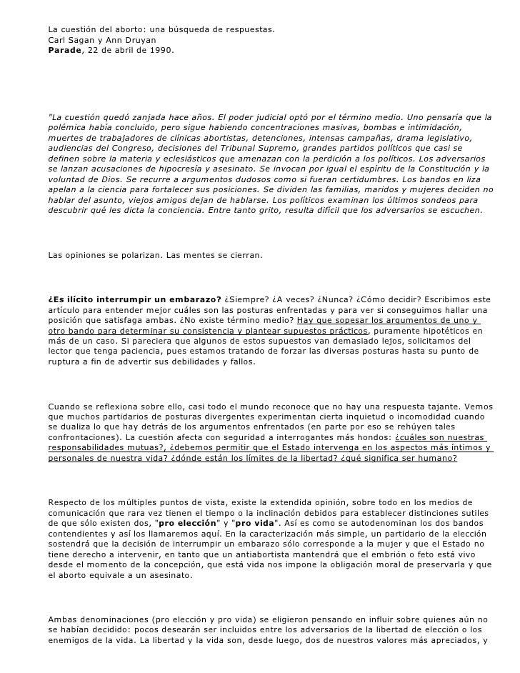 La cuestión del aborto: una búsqueda de respuestas. Carl Sagan y Ann Druyan Parade, 22 de abril de 1990.     quot;La cuest...