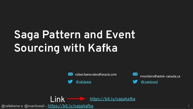 @rafabene e @roanbrasil - https://bit.ly/sagakafka 1 Saga Pattern and Event Sourcing with Kafka https://bit.ly/sagakafkaLi...