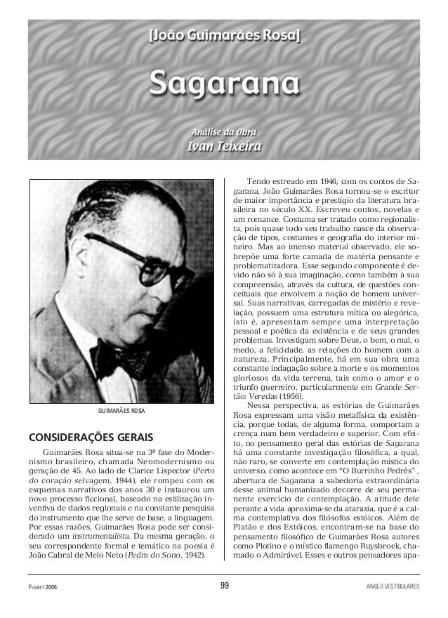 FUVEST 2006 99 ANGLO VESTIBULARES GUIMARÃES ROSA CONSIDERAÇÕES GERAIS Guimarães Rosa situa-se na 3ª fase do Moder- nismo b...