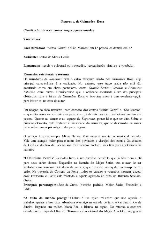 """Sagarana, de Guimarães Rosa Classificação da obra: contos longos, quase novelas 9 narrativas Foco narrativo: """"Minha Gente""""..."""