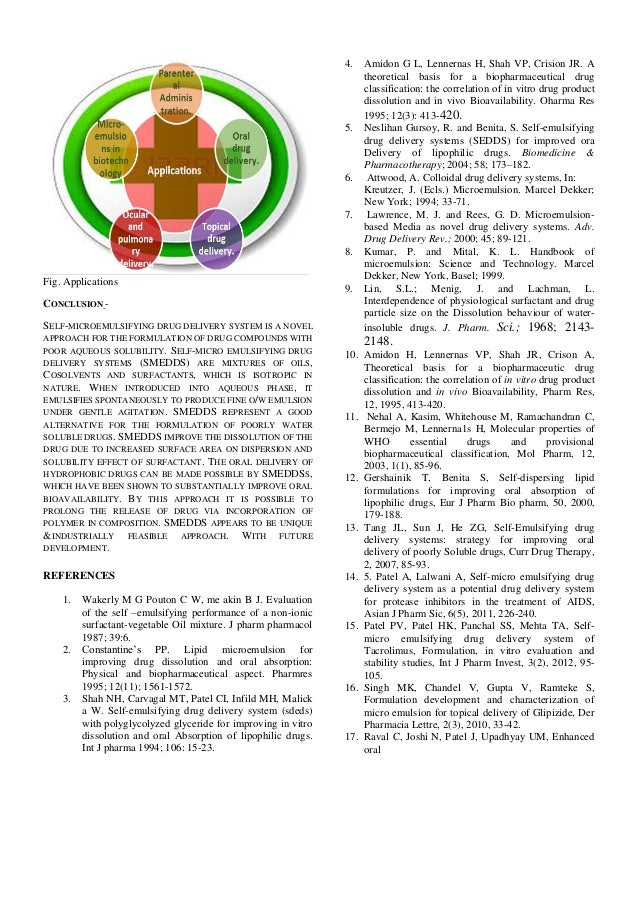 self microemulsifying drug delivery system thesis