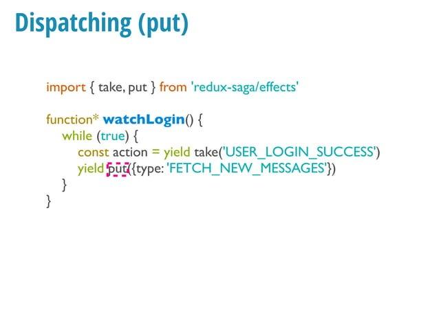 Ajax example Thunk function makeASandwichWithSecretSauce() { return function (dispatch) { dispatch({type: Constants.SANDWI...