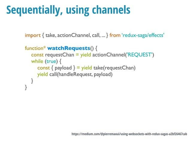 Connect + listen from socket function websocketInitChannel() { return eventChannel( emitter => { const ws = new WebSocket(...