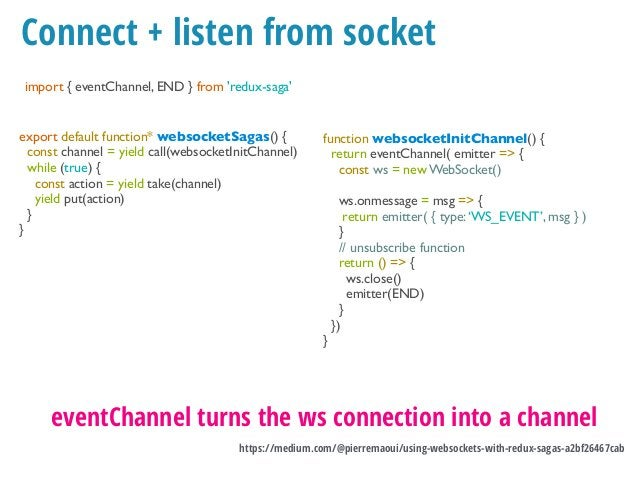 Summary •Take (takeEvery, takeLast) •Call •Put •Fork & Spawn •Cancel •Channels & EventChannels •All & race •Select