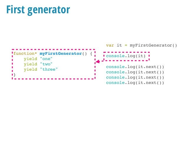 "First generator function* myFirstGenerator() { yield ""one"" yield ""two"" yield ""three"" } var it = myFirstGenerator() console..."