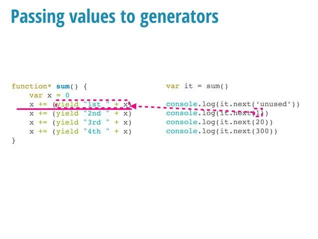 """function* sum() { var x = 0 x += (yield """"1st """" + x) x += (yield """"2nd """" + x) x += (yield """"3rd """" + x) x += (yield """"4th """" + x..."""