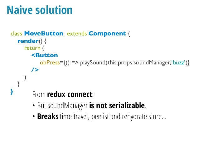 Naive solution What if we want to play a sound when the opponent moves too and we receive her movements from a websocket?