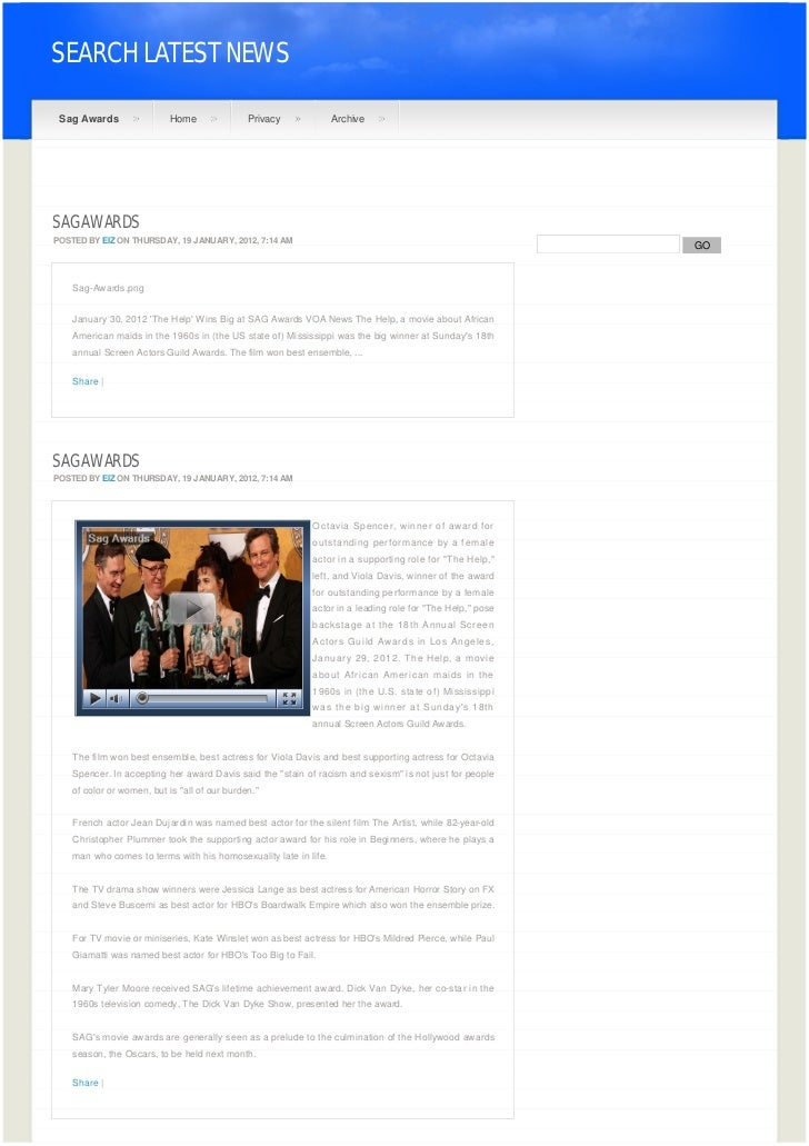 SEARCH LATEST NEWS Sag Awards                 Home               Privacy            ArchiveSAG AWARDSPOSTED BY EIZ ON THUR...