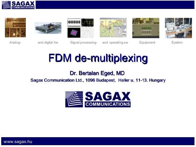 Analog-  and digital hw  Signal processing-  and operating sw  Equipment  FDM de-multiplexing Dr. Bertalan Eged, MD Sagax ...