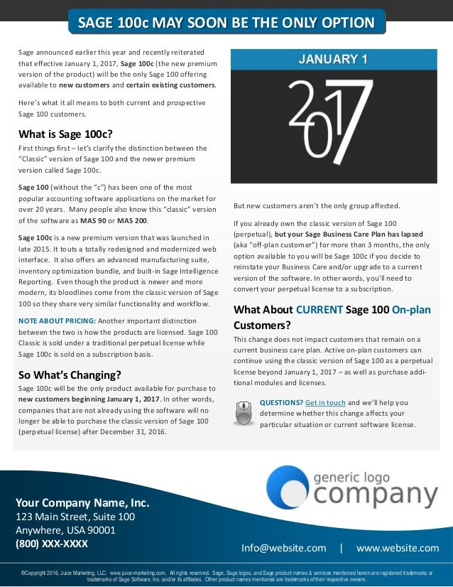 Sage 100 Year End Newsletter Sample