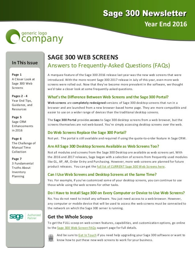 Sage  Newsletter Sample  Year End