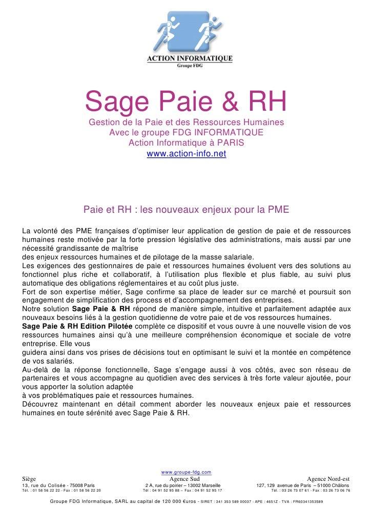 Sage Paie & RH                                      Gestion de la Paie et des Ressources Humaines                         ...