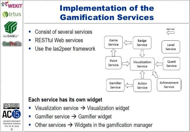 Lehrstuhl Informatik 5 (Information Systems) Prof. Dr. M. Jarke 23 Implementation of the Gamification Services