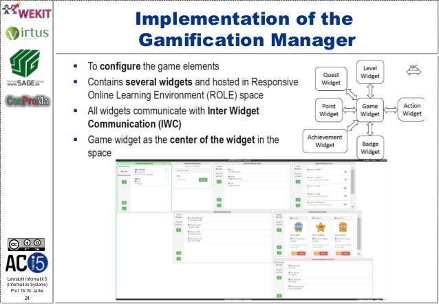 Lehrstuhl Informatik 5 (Information Systems) Prof. Dr. M. Jarke 24 Implementation of the Gamification Manager