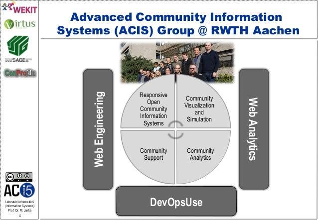 Lehrstuhl Informatik 5 (Information Systems) Prof. Dr. M. Jarke 4 Responsive Open Community Information Systems Community ...