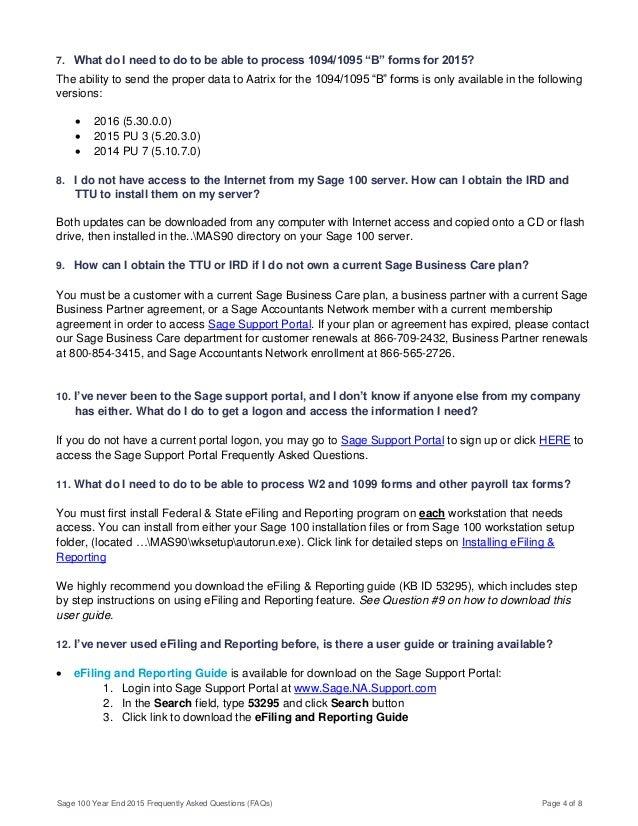 Sage 100 YE FAQ - 2015