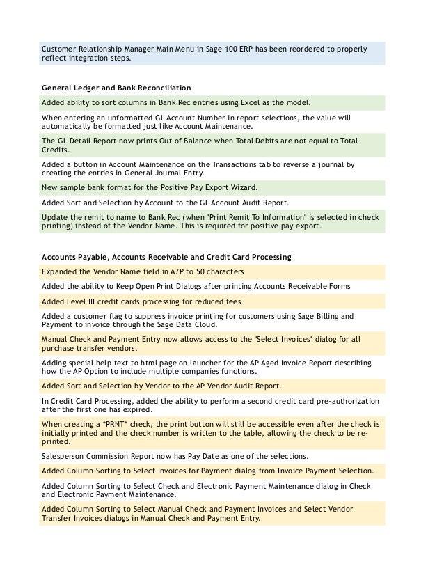 Sage 100 ERP 2015 Enhancements