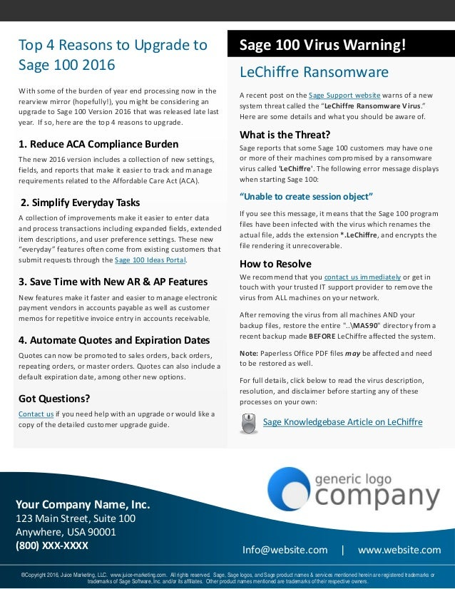 Sage  Erp Newsletter Sample Issue