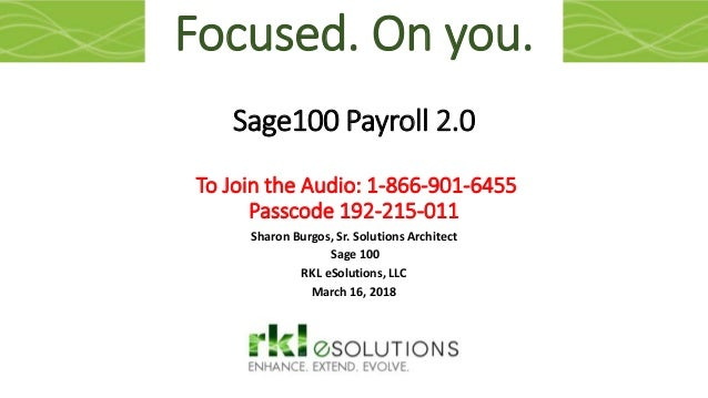 What's new in Sage 100 Payroll 2 0