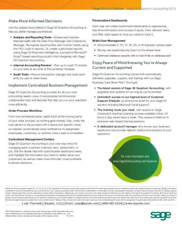 sage 50 quantum accounting 2013