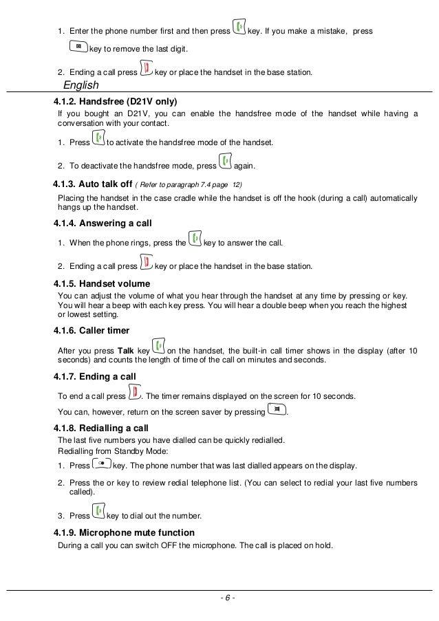 Sagemcom D21V Digital Cordless Phone User Guide
