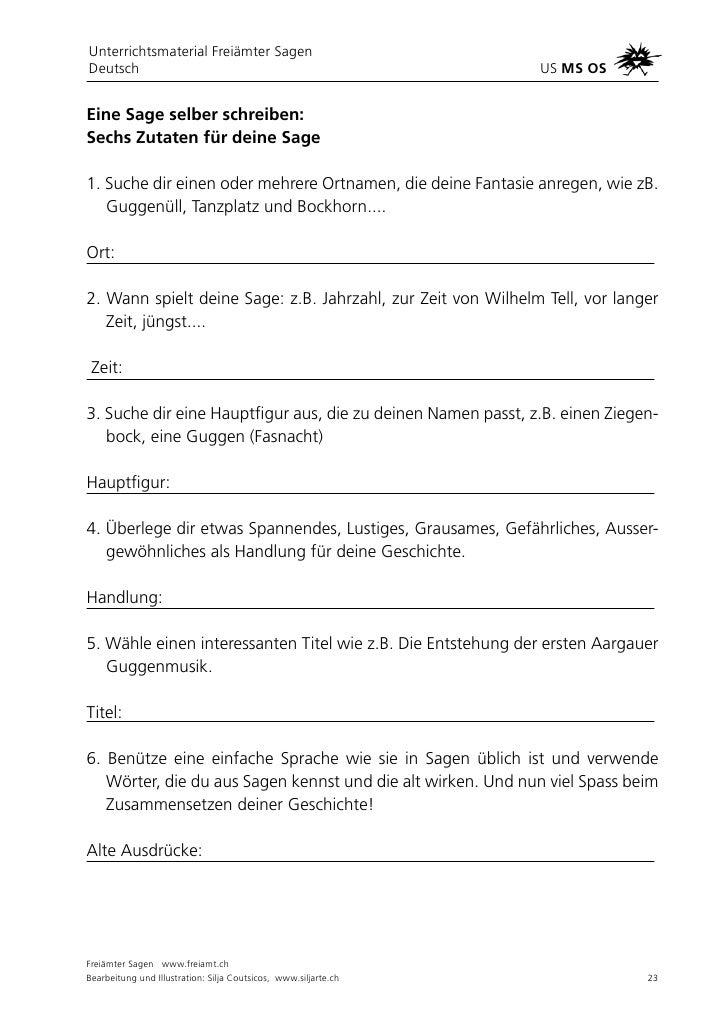 Freiämter Sagenweg Unterrichtsmaterial Teil 1