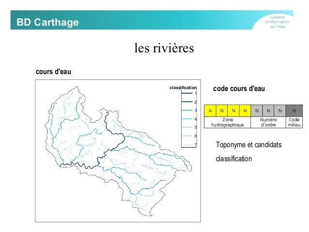 BD Carthage  les rivières cours d'eau rang  classification  1  code cours d'eau  2 3 4 5 6 7  Toponyme et candidats classi...