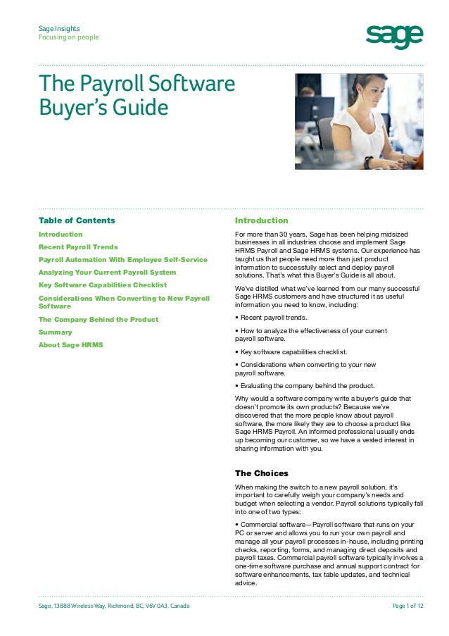 Sage Insights Focusing on people  The Payroll Software Buyer's Guide  Table of Contents  Introduction  Introduction  For m...