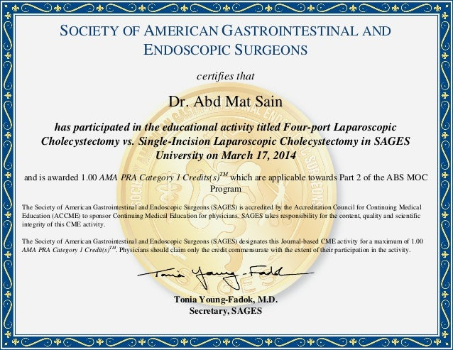 SOCIETY OF AMERICAN GASTROINTESTINAL AND ENDOSCOPIC SURGEONS certifies that Dr. Abd Mat Sain has participated in the educa...