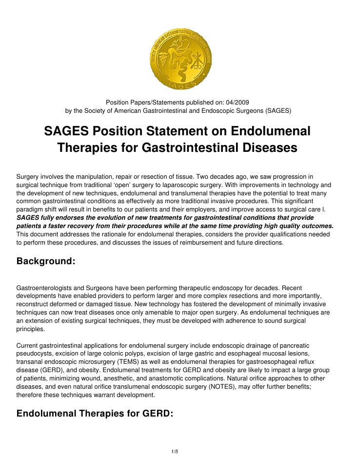 Position Papers/Statements published on: 04/2009                  by the Society of American Gastrointestinal and Endoscop...