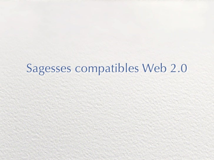Sagesses compatibles Web 2.0