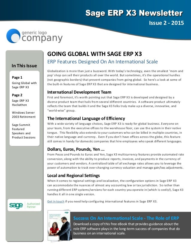 Sage Erp X Newsletter Sample