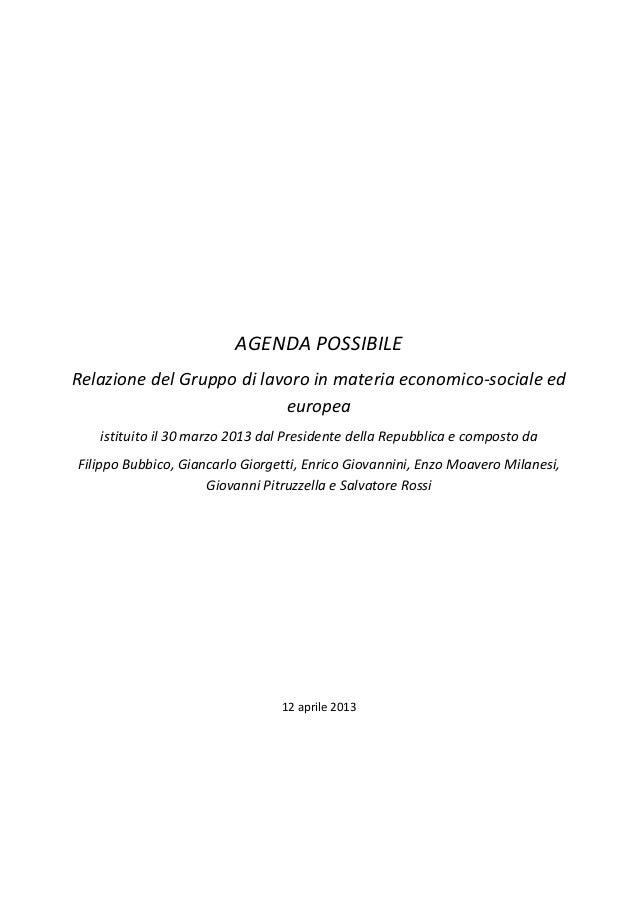 AGENDA POSSIBILERelazione del Gruppo di lavoro in materia economico-sociale ed                           europea   istitui...