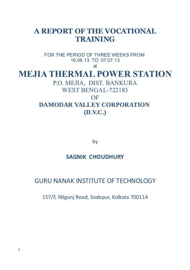 A REPORT OF THE VOCATIONAL TRAINING FOR THE PERIOD OF THREE WEEKS FROM 16.06.13 TO 07.07.13 at MEJIA THERMAL POWER STATION...