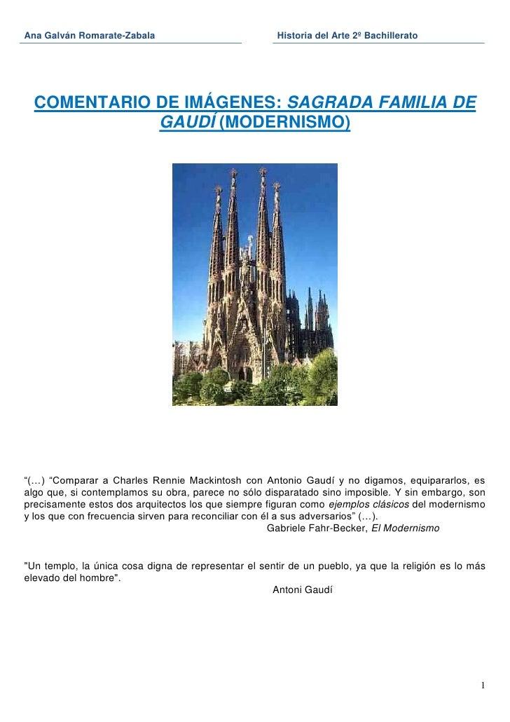 Ana Galván Romarate-Zabala                            Historia del Arte 2º Bachillerato  COMENTARIO DE IMÁGENES: SAGRADA F...
