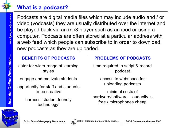 What is a podcast? Podcasts are digital media files which may include audio and / or video (vodcasts) they are usually dis...