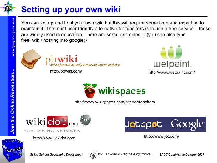 Setting up your own wiki  You can set up and host your own wiki but this will require some time and expertise to maintain ...