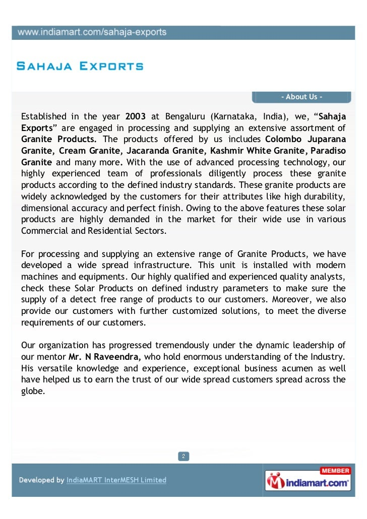 Sahaja Exports, Bengaluru, Granites Products Slide 2