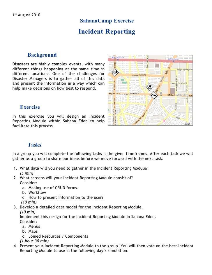 1st August 2010                                     SahanaCamp Exercise                                     Incident Repor...