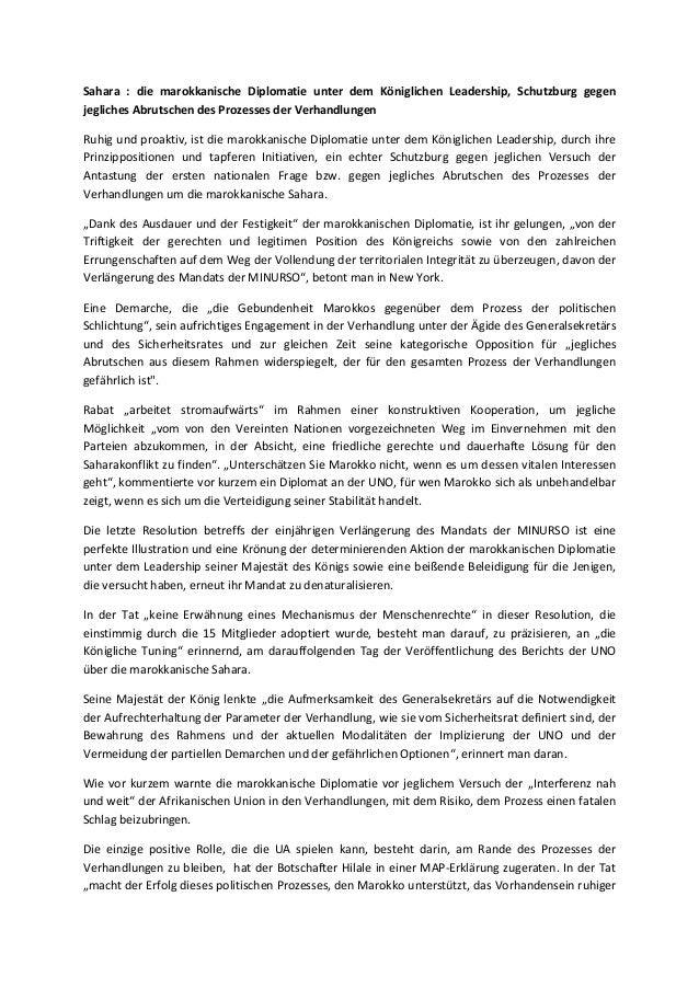 Sahara : die marokkanische Diplomatie unter dem Königlichen Leadership, Schutzburg gegen jegliches Abrutschen des Prozesse...