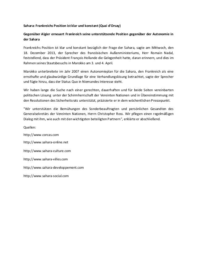 Sahara: Frankreichs Position ist klar und konstant (Quai d'Orsay) Gegenüber Algier erneuert Frankreich seine unterstützend...